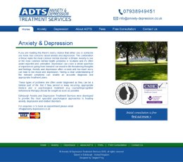 Screenshot of the Anxiety and Depression Treatment Services Website