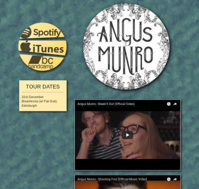 Screenshot of the Angus Munro Music website