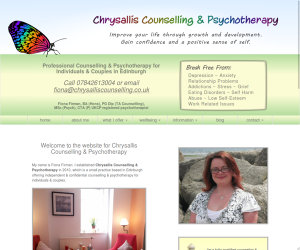 1200px screenshot of the Chrysallis Counselling website