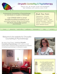768px screenshot of the Chrysallis Counselling website