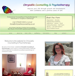 992px screenshot of the Chrysallis Counselling website