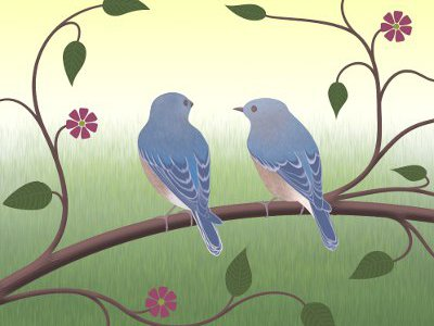 Bluebirds illustration for couples counselling