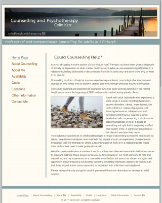 Wide desktop screenshot of the Colin Kerr website