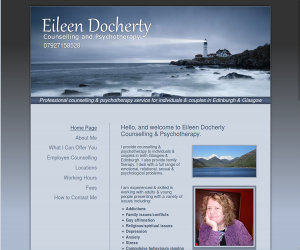 Wide desktop screenshot of the Eileen Docherty website