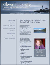 Tablet screenshot of the Eileen Docherty website