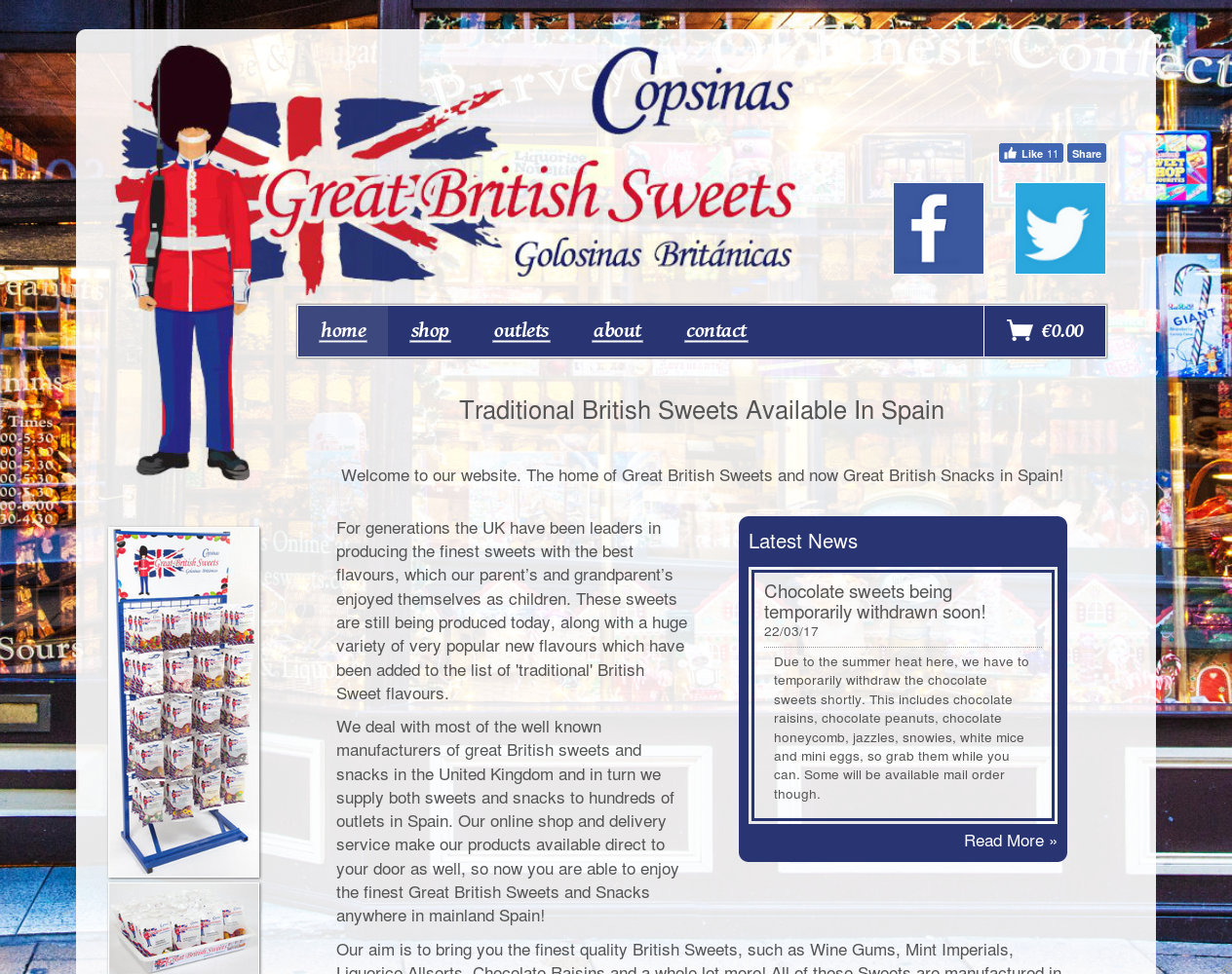 Wide desktop screenshot of the Great British Sweets website