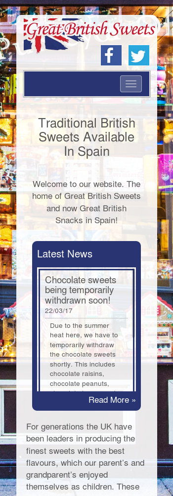 Narrow mobile screenshot of the Great British Sweets website
