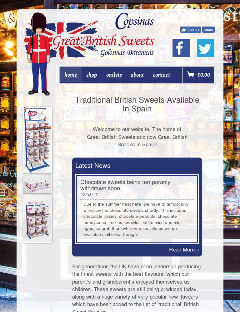Tablet screenshot of the Great British Sweets website