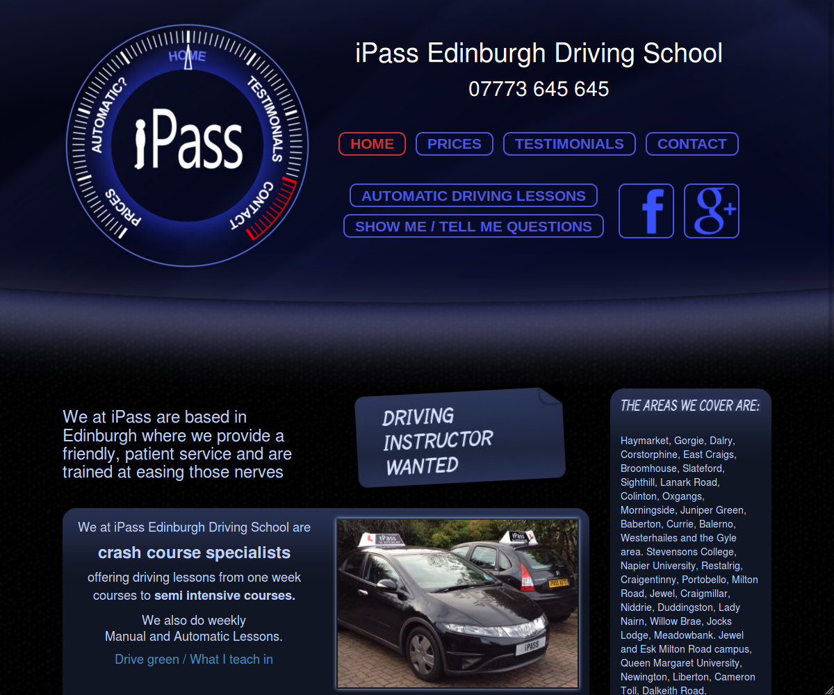 Wide desktop screenshot of the iPass Edinburgh website