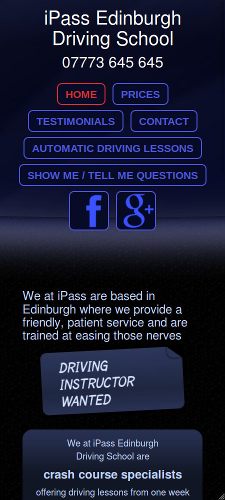 Wide mobile screenshot of the iPass Edinburgh website