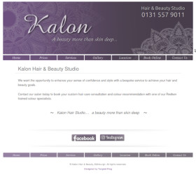 Wide desktop screenshot of the Kalon Hair and Beauty Studio website