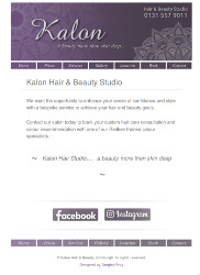 Tablet screenshot of the Kalon Hair and Beauty Studio website