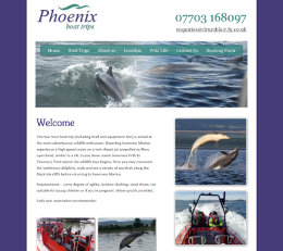 Screenshot of the Phoenix Boat Trips website